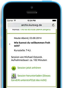 Das Archiv funktioniert auch am Smartphone